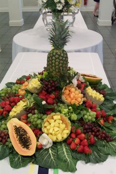 +The Church Cook: Fruit Centerpiece (camping foods for a crowd) Veggie Display, Veggie Tray, Fruit Centerpieces, Edible Arrangements, Pineapple Centerpiece, Fruit And Veg, Fruits And Vegetables, Fresh Fruit, Fruit Tables