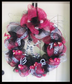 Hot Pink and Black Zebra Monogrammed Deco Wreath