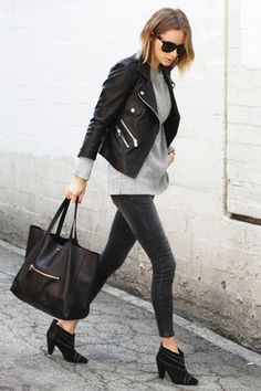 What to Wear to Work, Casual Friday Edition: Leather Moto Jacket, Gray Sweater, Black Skinny Jeans, Ankle Boots