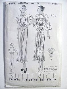 Butterick 6642 | 1930s Misses' Frock