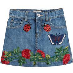 Gucci - Girls Blue Denim Embroidered Skirt | Childrensalon