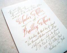 Coral Wedding Invitations, Calligraphy, Coral, Ivory, Wedding Invitations, Calligraphy Wedding Invitations