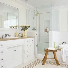 Contemporary White Bathroom - love the clear shower and subway tile