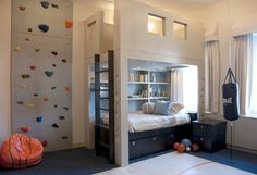 what a cool boys room! rock climbing wall, punching bag, hideway nook above bed, basketball court. Cool Boys Room, Cool Bedrooms For Boys, Awesome Bedrooms, Cool Rooms, Boy Room, Kids Bedroom, Kids Rooms, Dream Bedroom, Boy Bedrooms