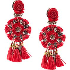 Ranjana Khan clip-on floral tassel earrings (23.630 RUB) ❤ liked on Polyvore featuring jewelry, earrings, red, floral earrings, red jewelry, floral jewelry, red tassel earrings and ranjana khan