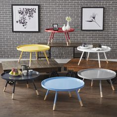 INSPIRE Q Marcella Paint-dipped Round Spindle Tray Top Coffee Table