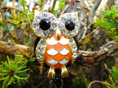 Checkered Owl Badge Holder  Retractable by BadgeAlleybyGerAnne