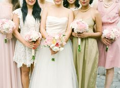 Romantic Pink Green Lace Tulle White Wedding Bridesmaids Party