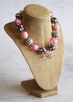 Silver/Pink Chunky Bead Necklace