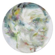 ABRAHAM LINCOLN - watercolor portrait Plate - portrait gifts cyo diy personalize custom
