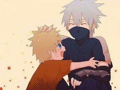 Aww...little Naruto and young Kakashi!