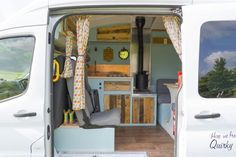 Campervan Hire Somerset - Deirdre the handcrafted campervan invites you to adventure in the great outdoors and to rest in her sea-blue interior Van Interior, Camper Interior, Somerset, Small Portable Speakers, Trailers, Ford Transit Camper Conversion, Motorhome Hire, Kombi Home, Campervan Hire