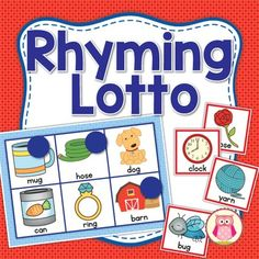 Rhyming Lotto and Matching Activity:  Rhyming Practice for Early Childhood. Rhyming lotto and match for early childhood education.  Children can practice rhyme recognition with this activity set.  It is perfect for preschool, pre-k, kindergarten, home school, special education, and RTI classrooms.