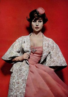 Jean Patou, photo Guy Arsac 1959 vintage fashion style color photo print ad model magazine 60s 50s pink party dress sheer tulle silk satin full skirt strapless wasp floral brocade jacket evening formal gown cocktail