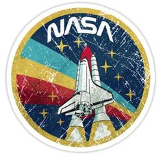 Shop USA Space Agency Vintage Colors nasa stickers designed by Lidra as well as other nasa merchandise at TeePublic. Stickers Cool, Cute Laptop Stickers, Bubble Stickers, Phone Stickers, Printable Stickers, Snapchat Stickers, Homemade Stickers, Aesthetic Stickers, Vintage Colors