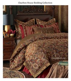 Charlton House Bedding Ensemble. opulent traditional with crimson and brick reds and carmel. Formal tapestry paisley/ floral with accents of leopard chenille, faux silks, and novelty textures. DesignNashville