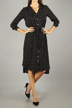 Black chiffon button-down shirt dress
