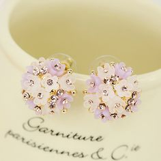 Sun Flower Stud Ronde Opale Gemme Rose Gold Filled Women Lady Bijoux Boucles d/'oreilles