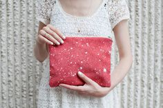 Coral Red Splatter LeatherSuede Pouch No SZP101 by CORIUMI on Etsy, $52.00  Love it!