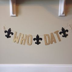 Black & Gold Glitter Who Dat Banner  New Orleans by APartyInABag