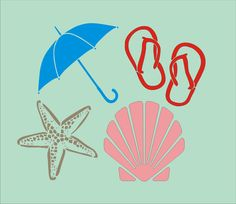 Beach Stencil four peice Set  Each item is 4x4 by SuperiorStencils, $12.95