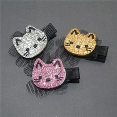 Glitter Felt Flower Cat Hair Clip with Mesh Black Classic Gold Silver Pink Kitty Pin Hairpin Cartoon Felt Hair Clips, Baby Hair Clips, Felt Hair Accessories, Girls Accessories, Polymer Clay Embroidery, Hair Brooch, Felt Bows, Hair Decorations, Felt Cat