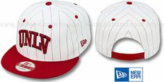 UNLV 'PINSTRIPE BITD SNAPBACK' White-Red Hat by New Era : may be pictured without stickers that these products are shipped with