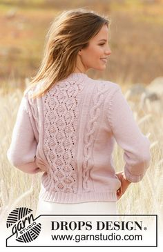 Knitted sweater in DROPS Merino Extra Fine. Piece is knitted with cables and lace pattern. Baby Knitting Patterns, Lace Knitting, Crochet Patterns, Drops Design, Crochet Jacket, Knit Crochet, Knit Picks, Jacket Pattern, Knit Fashion