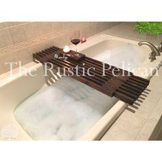 RusticPelican ($120) via Polyvore featuring bath tub tray, recessed shelf, mini shelves, bath tub caddy and rustic shelves