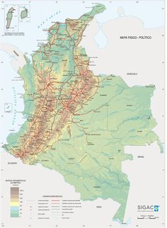 Mapa Físico de Colombia Costa, Empire, World, Google, Geography, Colombia Map, World Maps, Social Science, The World