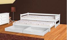 Posteľ TOMEK je detská celodrevená posteľ s výsuvným lôžkom. Posteľ je dodávaná s matracmi a roštami. Poteší Vás praktický úložný priestor v 2 zásuvkách pod posteľou. Možnosť výberu zo 4 farebných prevedení.