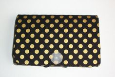 COUPON  Organizer - Holder - Keeper - metallic gold dots on black - gift for her photos recipes note cards gift cards under 20