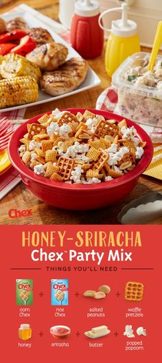 Heat up your summer BBQ with Honey-Sriracha Chex Party Mix! Inspired by the summer heat, Honey-Sriracha Chex Party Mix is made with pretzels, peanuts, popcorn and the perfect combination of sweet and spciy flavor. Ready to serve in just 15 minutes, Honey-Sriracha Chex Party Mix is your summer BBQ in the making.