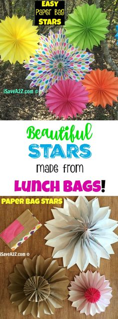 Easy Paper Bag Stars that are FAST to make! I love all the different colors! - iSaveA2Z.com