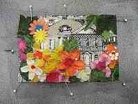 Fabric postcards with silk flowers