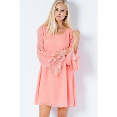 CORAL REEF CHIFFON SHIFT DRESS-LACE BELL SLEEVES NWOT CORAL REEF CHIFFON SHIFT DRESS-LACE BELL SLEEVES-PEACH SMALL mint condition only worn once Entro Dresses