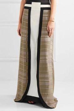 ZeusDione - Lotus Silk-jacquard And Silk-crepe Maxi Skirt - Army green - FR40
