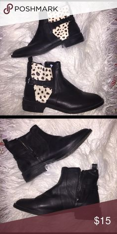 Forever 21 cow print booties Only worn 2 times, basically brand new Forever 21 Shoes Ankle Boots & Booties