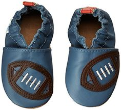 Layered crib shoe with football applique at toe and elasticised heel Soft crib outsole Rear heel pull Baby Boy Shoes, Crib Shoes, Boys Shoes, Kids Slippers, Blue China, Discount Shoes, Clarks, Baby Kids, Infant Toddler