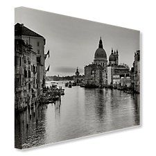 Venice Grande Canal in Black and White on Canvas