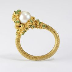pearl & antique glass ring by Ruth Tomlinson