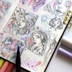 Arte Sketchbook, Sketchbook Pages, Pretty Art, Cute Art, Character Art, Character Design, Sketchbook Inspiration, Aesthetic Art, Cartoon Art