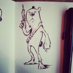 Furry and armed. Has a slight chewbacca-vibe to it though that wasnt intentional at all.  #furry #art #ink #sketch #character #characterdesign #sketchbook #notchewbacca