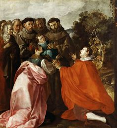 Francisco Herrera The Elder - Saint Francis of Assisi Healing Saint Bonaventure as a Child