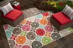This rug is so pretty and colorful!   It would make a nice addition to the patio!  I love this indoor/outdoor rug! #OutdoorBliss #Mohawk