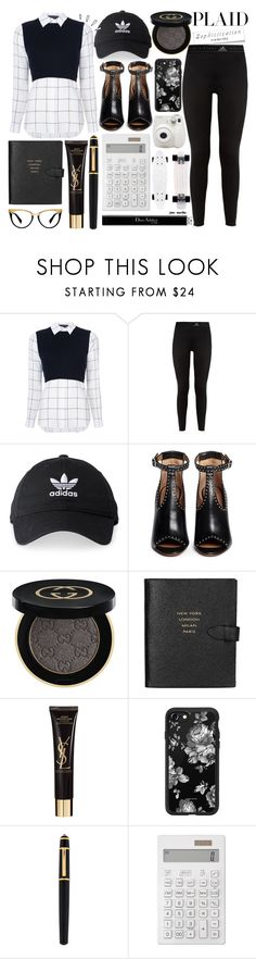 """#17 Check It - Plaid: 10/11/17"" by marika-jane ❤ liked on Polyvore featuring Alice + Olivia, adidas, Givenchy, Gucci, Old Navy, Smythson, Yves Saint Laurent, Casetify, Cartier and Muji"