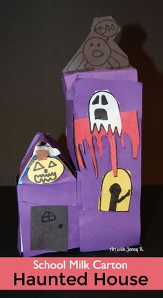 Use the school milk cartons to create Haunted houses for a fun and easy art integration activity for Halloween. Kids do all the creating! Halloween Crafts For Kids To Make, Halloween Art Projects, Fall Halloween, Halloween Activities, Happy Halloween, Halloween Party, Milk Carton Crafts, Milk Cartons, Haunted House Drawing