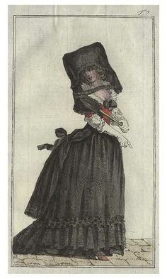 Fashion plate dating 1788 depicting a woman wearing a fashionable mourning gown.