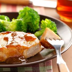 Down-Home Pork Chops Recipe -Zippy sauce made of brown sugar, crushed red pepper flakes and soy sauce adds personality to this otherwise straightforward main dish. —Denise Hruz, Germantown, Wisconsin