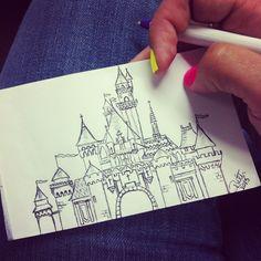 My ridiculously talented bestie's doodle of Disney castle. Disney Castle Drawing, Castle Sketch, Drawing Disney, Disney Doodles, Cute Disney Drawings, Disney Sketches, Disney Kunst, Disney Art, Disney Magic